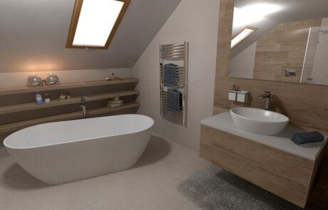 návrh střešní koupelny