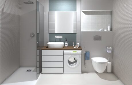 čistě bílý návrh koupelny