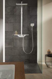 tmavé koupelnové obklady a sprchový kout
