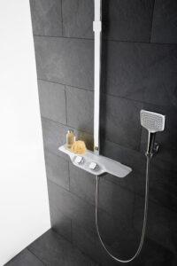 Sprchový kout a černé obklady